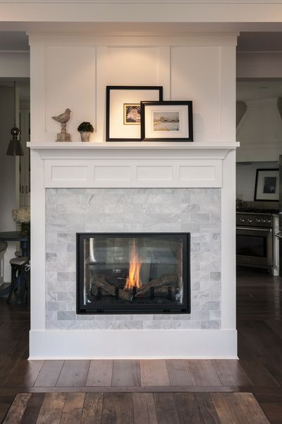 White Brick Style Fireplace Tile Ideas