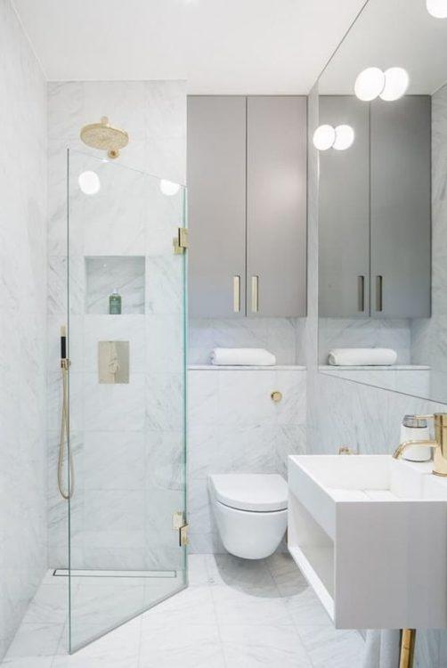 White Ultra Minimalist Tiny House Bathroom
