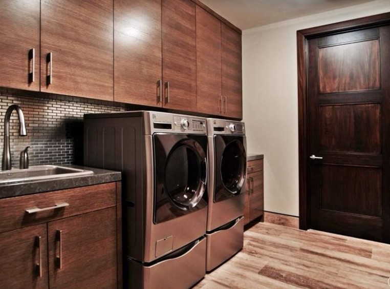 Wood Basement Laundry Room