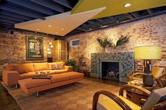 Art Geometric Cement Basement Ceiling Ideas