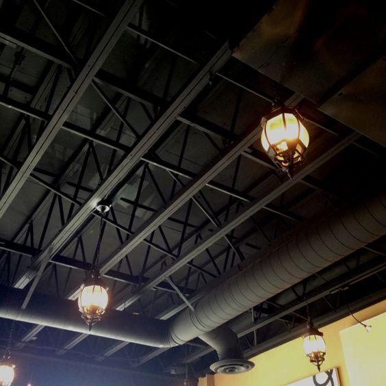 Black Industrial Basement Ceiling Ideas