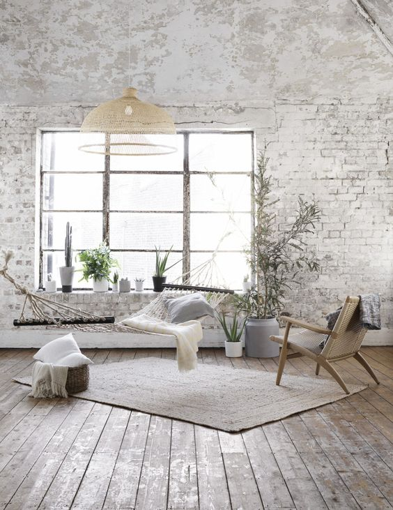 bohemian white brick wall