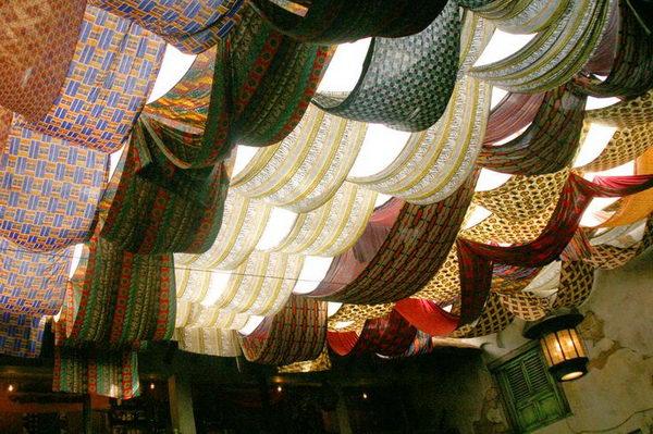 Colorful Fabric Basement Ceiling Ideas