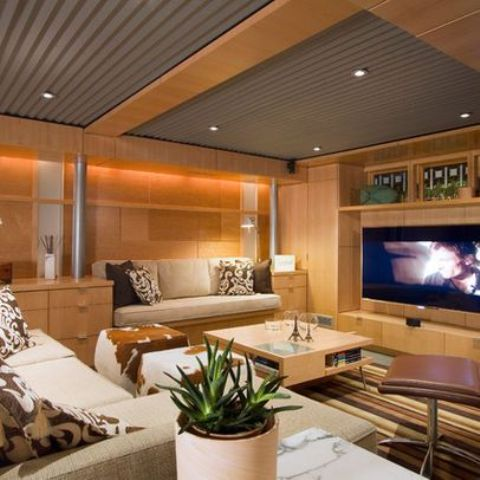 Corrugated Industrial Basement Ceiling Ideas