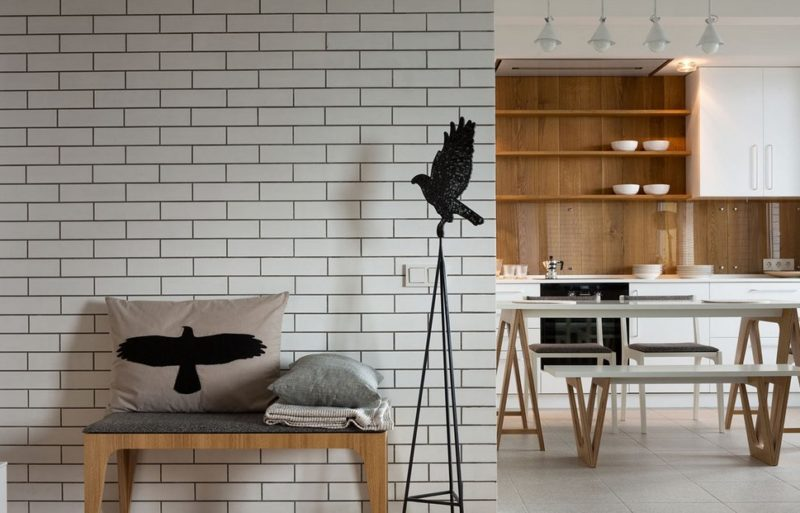geometric white brick wall