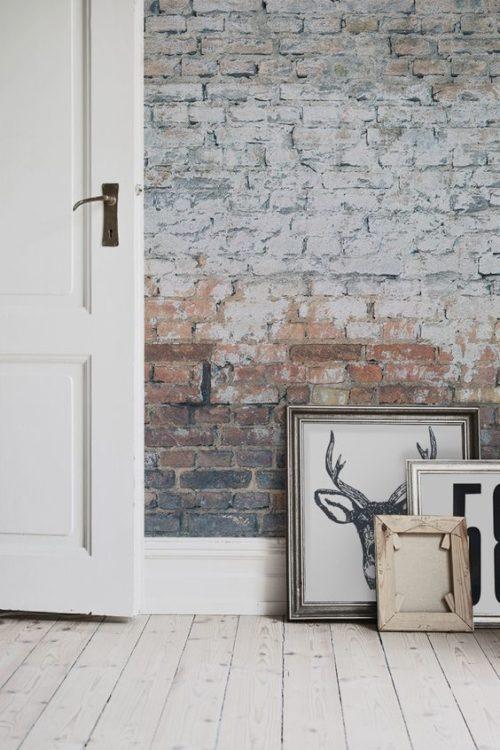 gradient color white brick wall