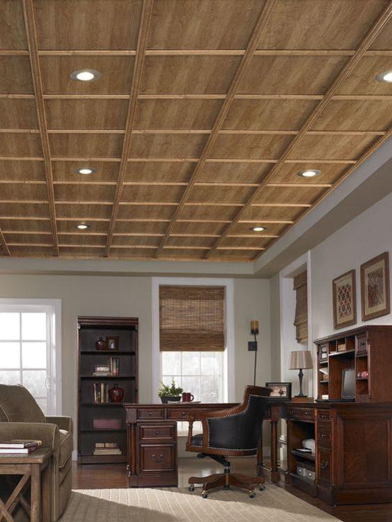 Grid Wood Basement Ceiling Ideas