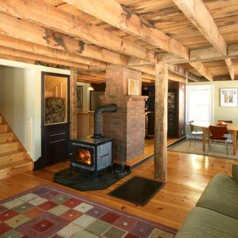 Log Wood Basement Ceiling Ideas