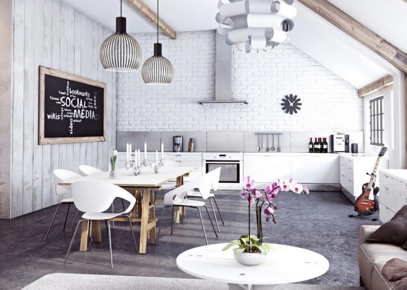 mix white wood and white brick wall