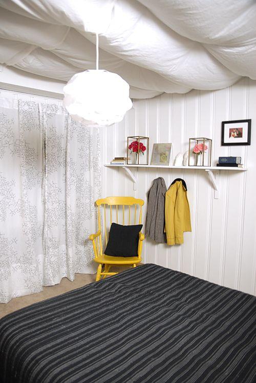White Fabric Basement Ceiling Ideas