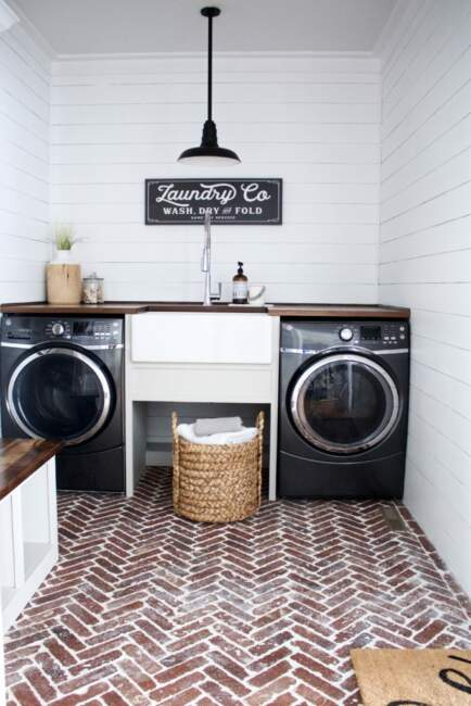 farmhouse laundry room cabinets and sink ideas