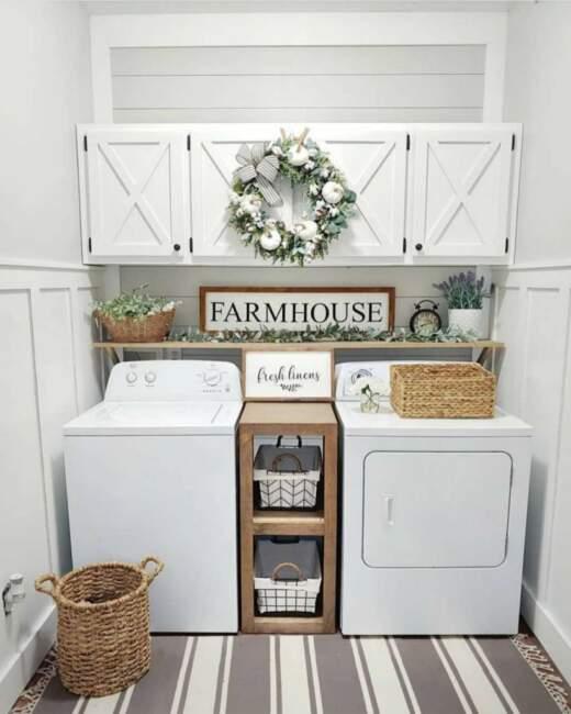 farmhouse laundry room storage ideas