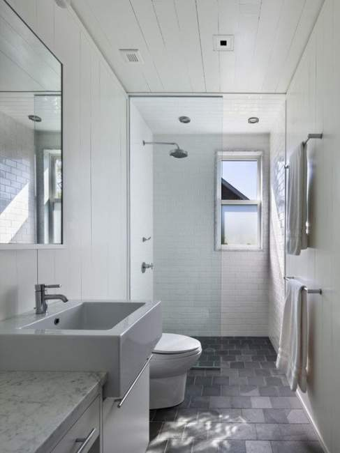 Monochromatic Basement Bathroom Ideas